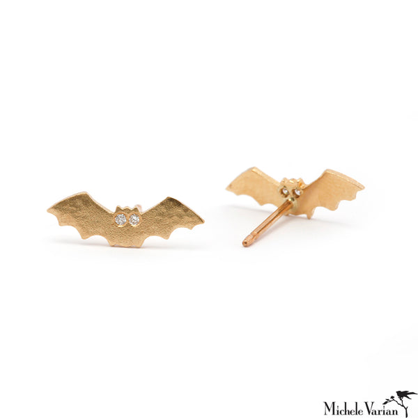 Tiny Bat and Diamond Stud Earrings