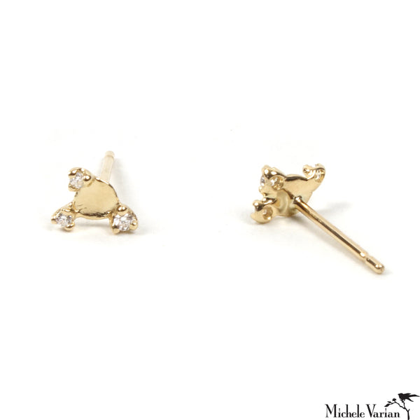 Tiny Gold Reflection Stud Earrings