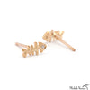 Single Gold Fishbone and Diamond Stud Earrings