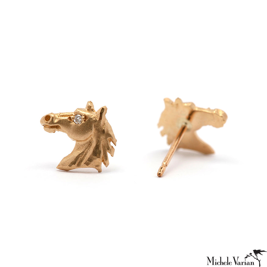 Tiny Stallion Horse Diamond and Gold Stud Earrings