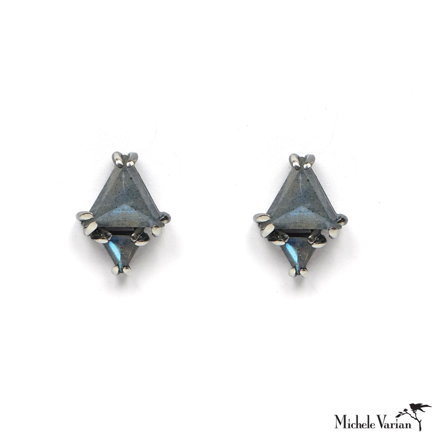 Labradoritre Double Triangle Stud Earrings