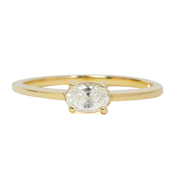East West Oval Diamond Solitaire Ring
