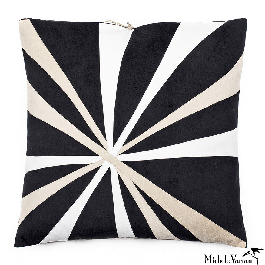 Ultra Suede Applique Pillow El Sol Black 16x16