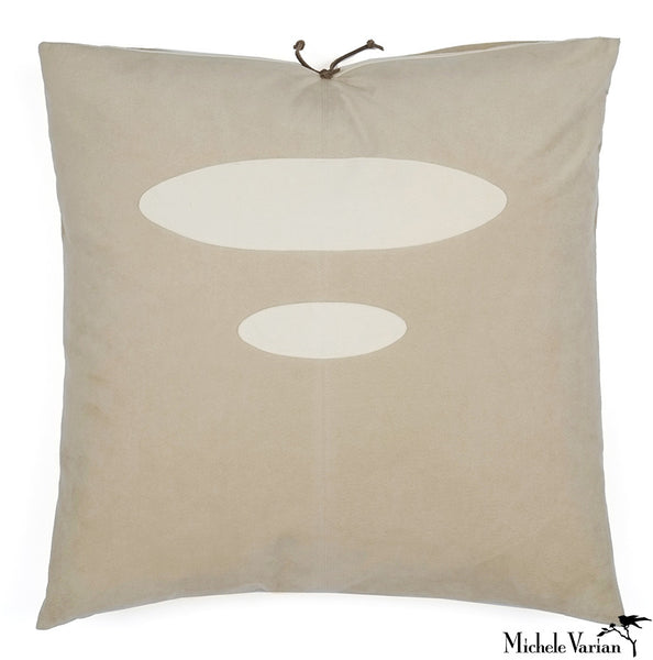 Ultra Suede Applique Pillow Elipse Bone 20x20