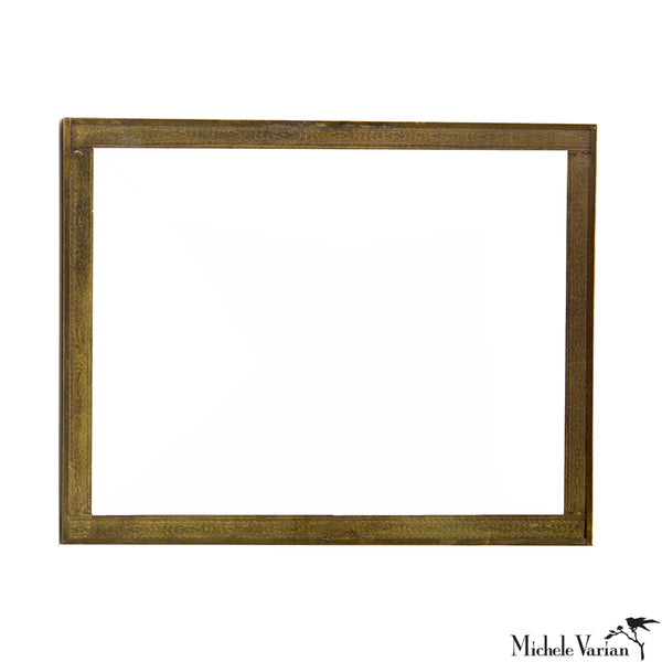 Embossed Brass Frame Rectangular Mirror for Wall or Vanity 11x14 inches