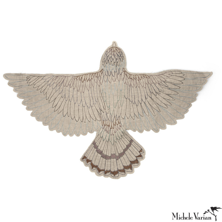 Embroidered Hawk Mobile or Wall Hanging