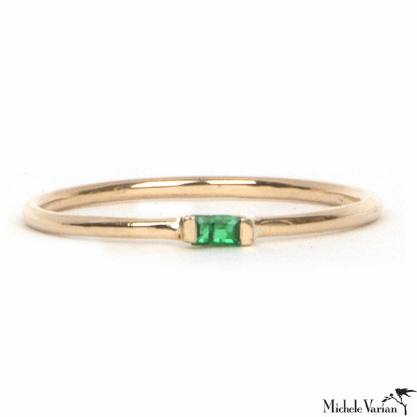 Gold and Emerald Baguette Ring