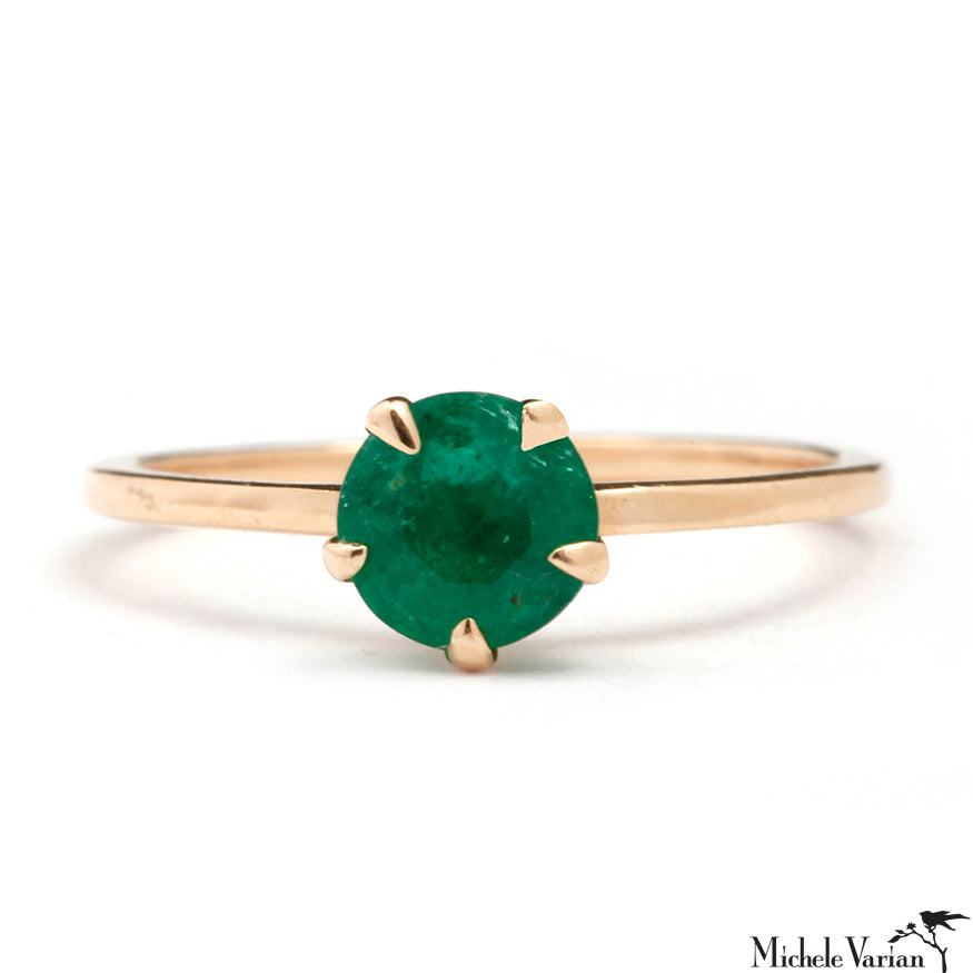 Single Green Emerald Gold Ring