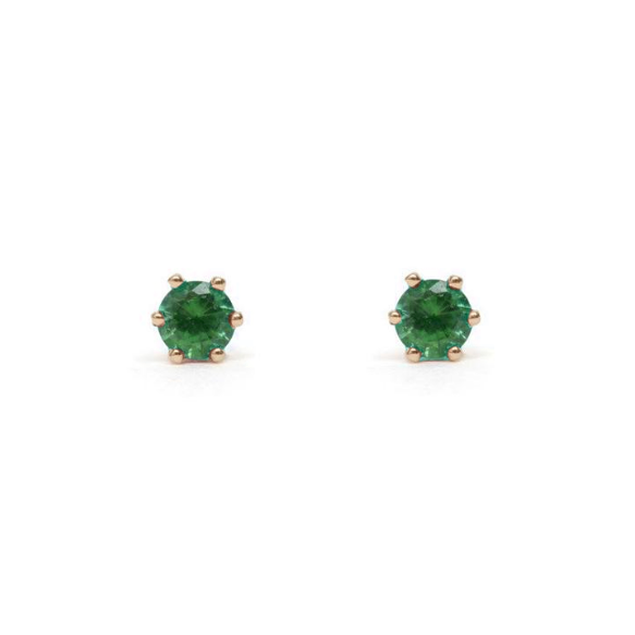 Tiny Prong Set Emerald Gold Stud Earrings