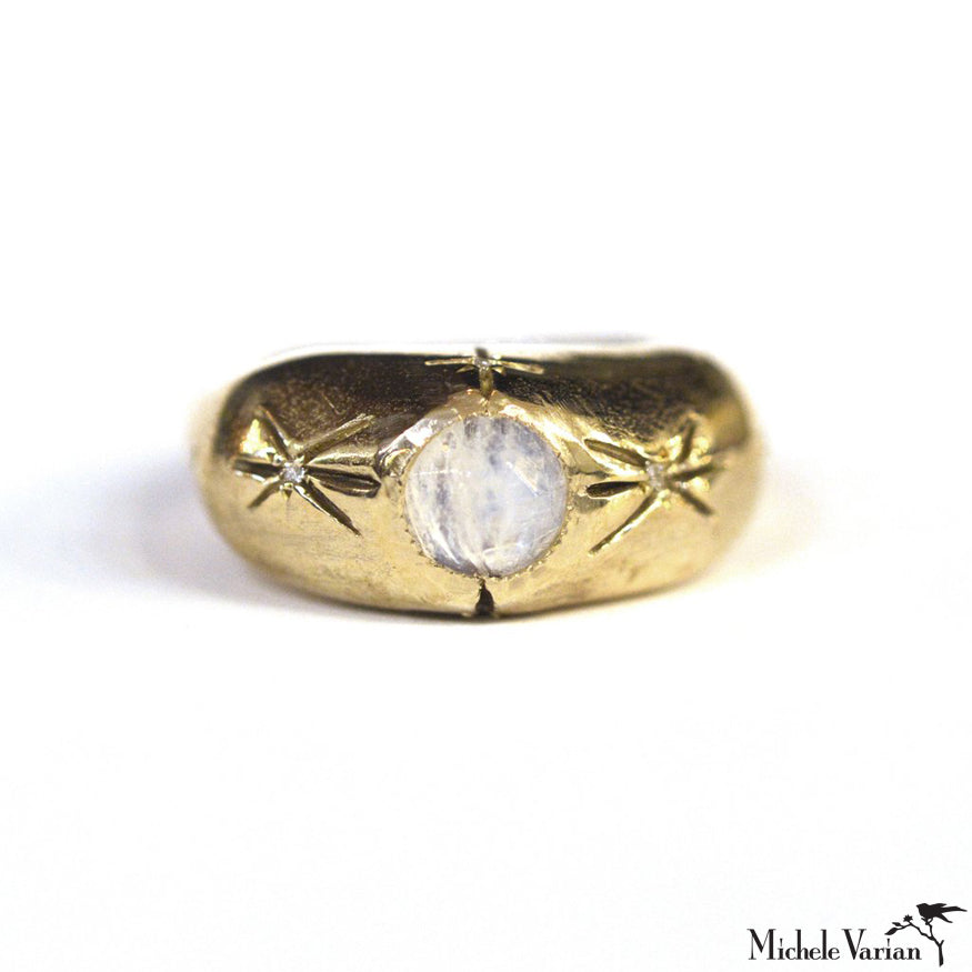 Energy Moonstone and Brass Ring