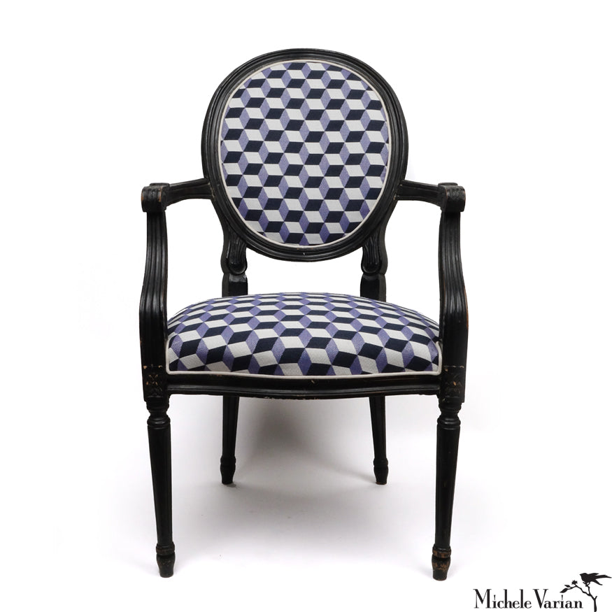 Escher Upholstered Louis 14th Style Arm Chairs Blue