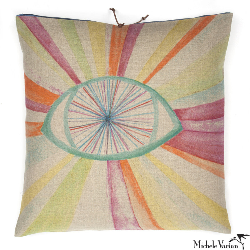 Printed Linen Pillow Eyeburst Multi 22x22