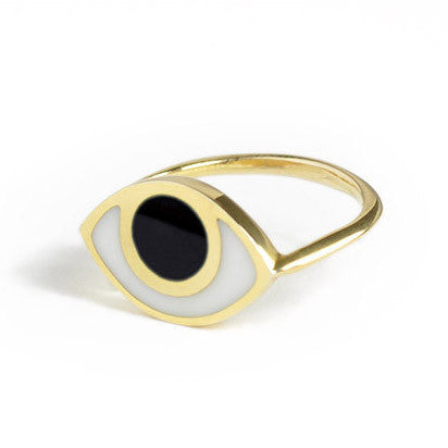 Eye Ring Black Onyx and White Agate