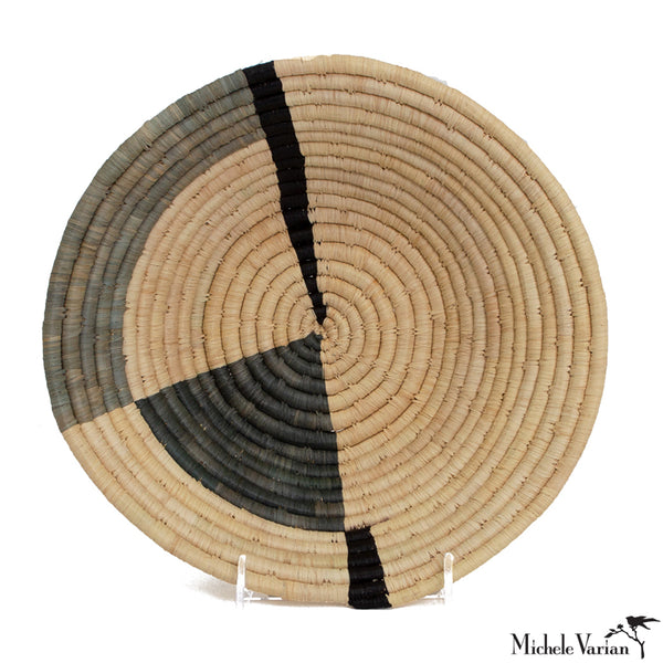 Gray Geo Medium Raffia Bowl