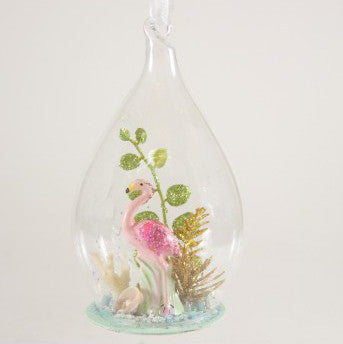 Flamingo Glass Globe Ornament