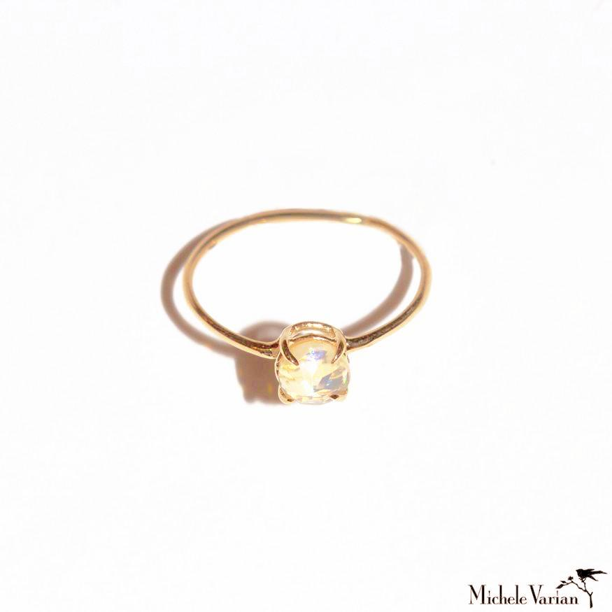 Single Faceted Opal gold Ring
