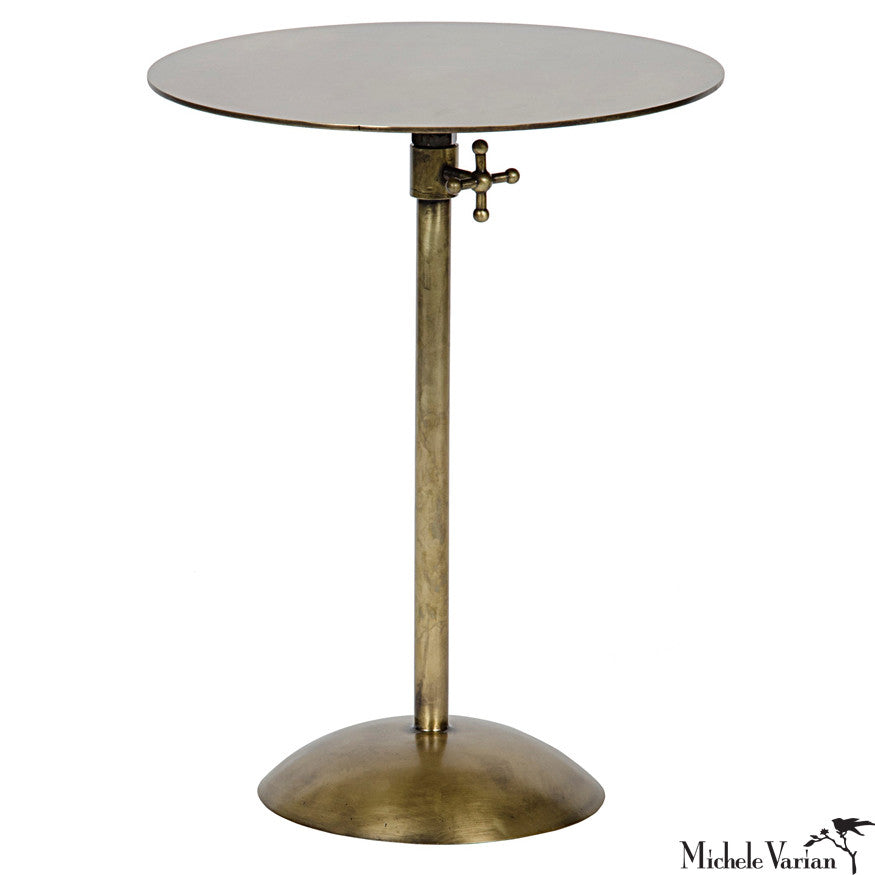 Superieur Adjustable Brass Side Table. Minimal And Modern Round Accent Table.