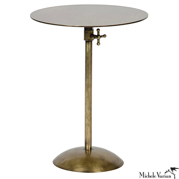 Adjustable brass side table. Minimal and modern round accent table.