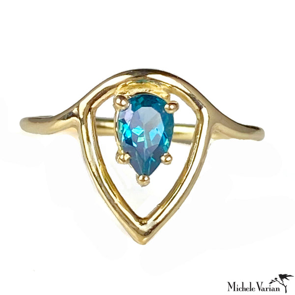 Gold Lotus Ring with London Blue Topaz