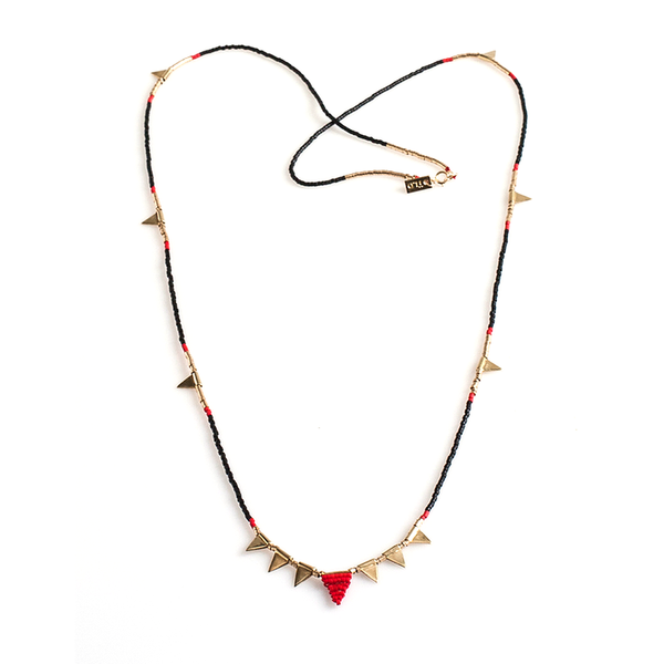 Long Multi Flag Black and Red Beaded Necklace