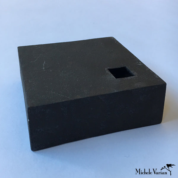 Japanese Flat Black Block With Cut-Out Ceramic Vase