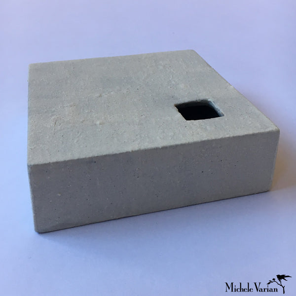 Japanese Flat Gray Block With Cut-Out Ceramic Vase
