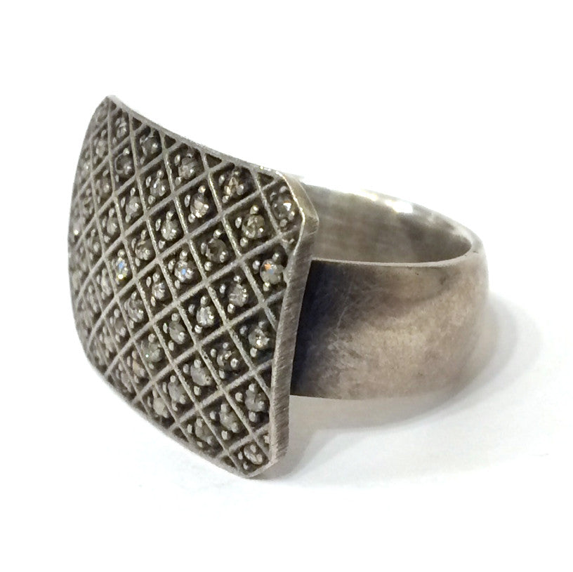 Silver and Diamond Flat Ring