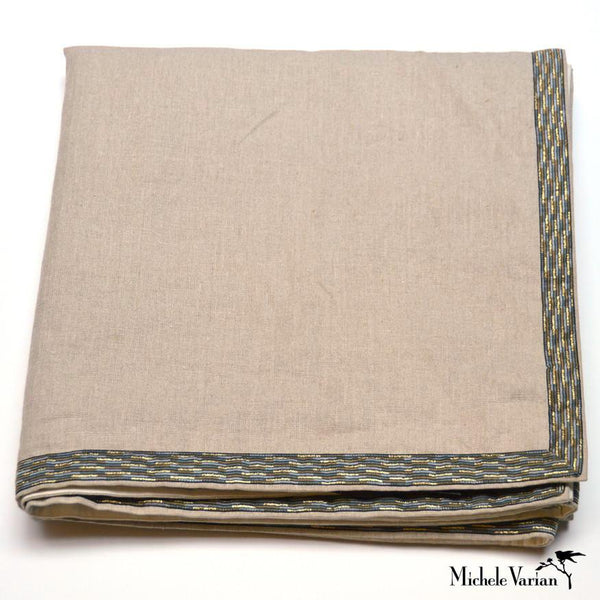Flax Bedspread with Jacquard Trim