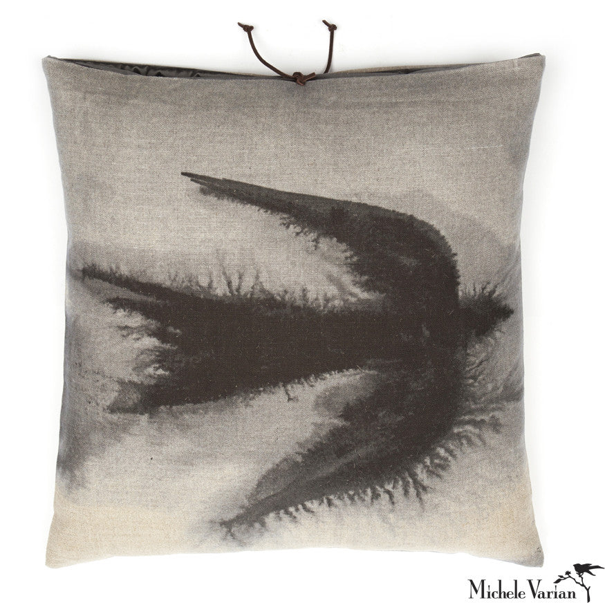 Printed Linen Pillow Flight Black 18x18