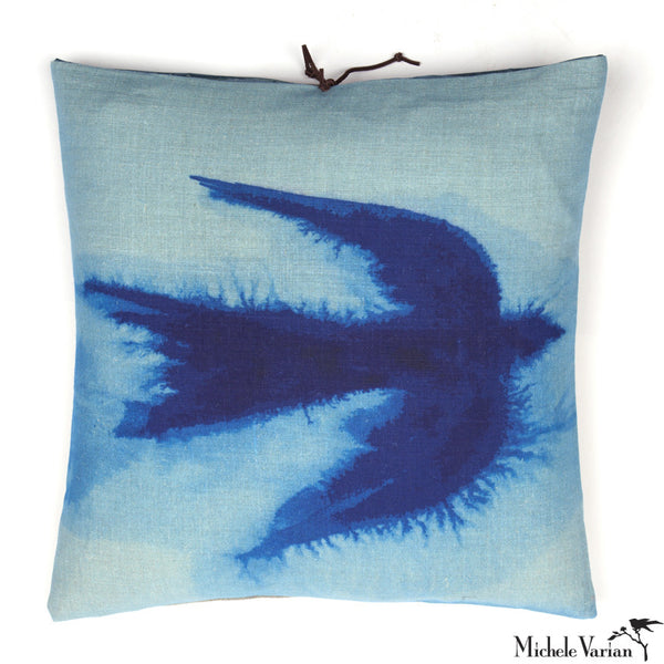 Printed Linen Pillow Flight Blue 18x18