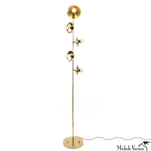 Brass Five Blossom Floor Lamp