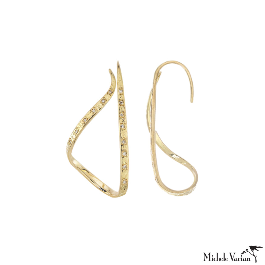 Flowing Ribbon Diamond Gold Hoop Earrings