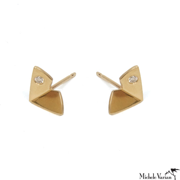Tiny Gold and Diamond Origami Stud Earrings