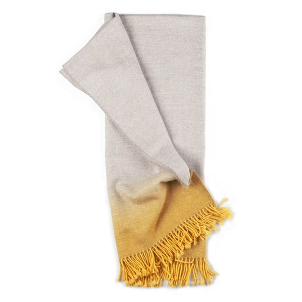 Dip-Dye Alpaca Ombre Throw - Marigold