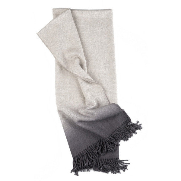 Dip-Dye Alpaca Ombre Throw - Charcoal