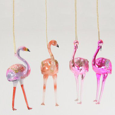 Leggy Glass Flamingo Ornaments