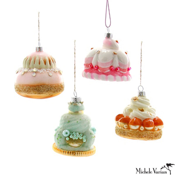 French Mini Pastries Glass Ornament