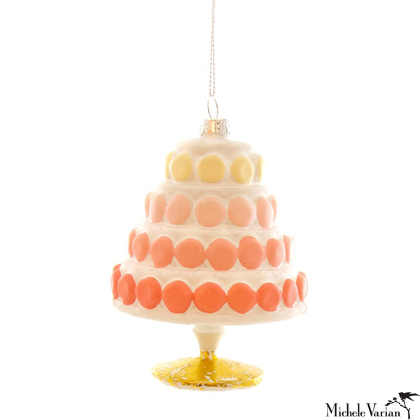 Gradient Macaroon Cake Glass Ornament