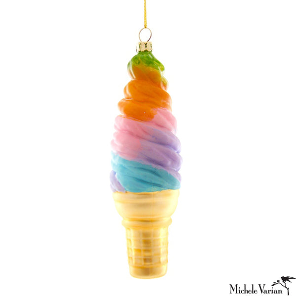 Rainbow Deluxe Soft Serve Ice Cream Cone Glass Ornament