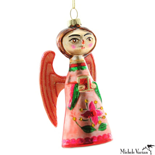 Folksy Angel Glass Ornament