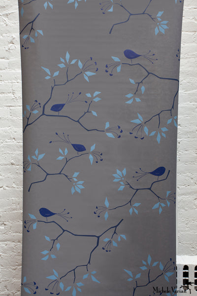 Geo Bird Wallpaper Graphite Cobalt
