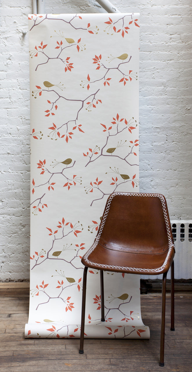 Geo Bird Wallpaper in Metallic Gold and Tomato Red on Snow. Michele Varian Wallpaper