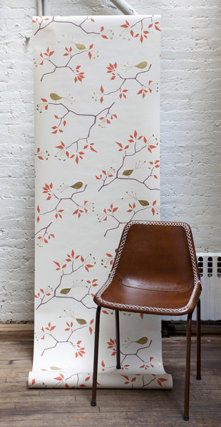 Geo Bird Wallpaper in Metallic Gold and Tomato Red on Snow