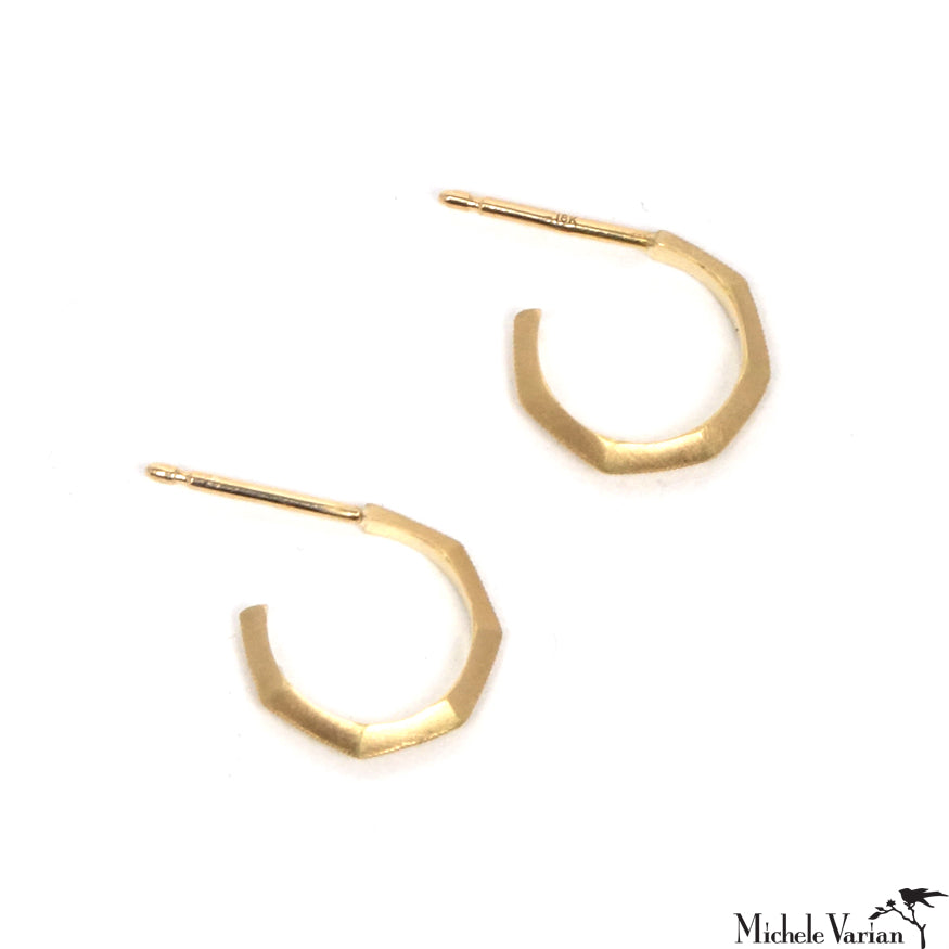 Mini Bamboo Milgrain Hoop Earrings