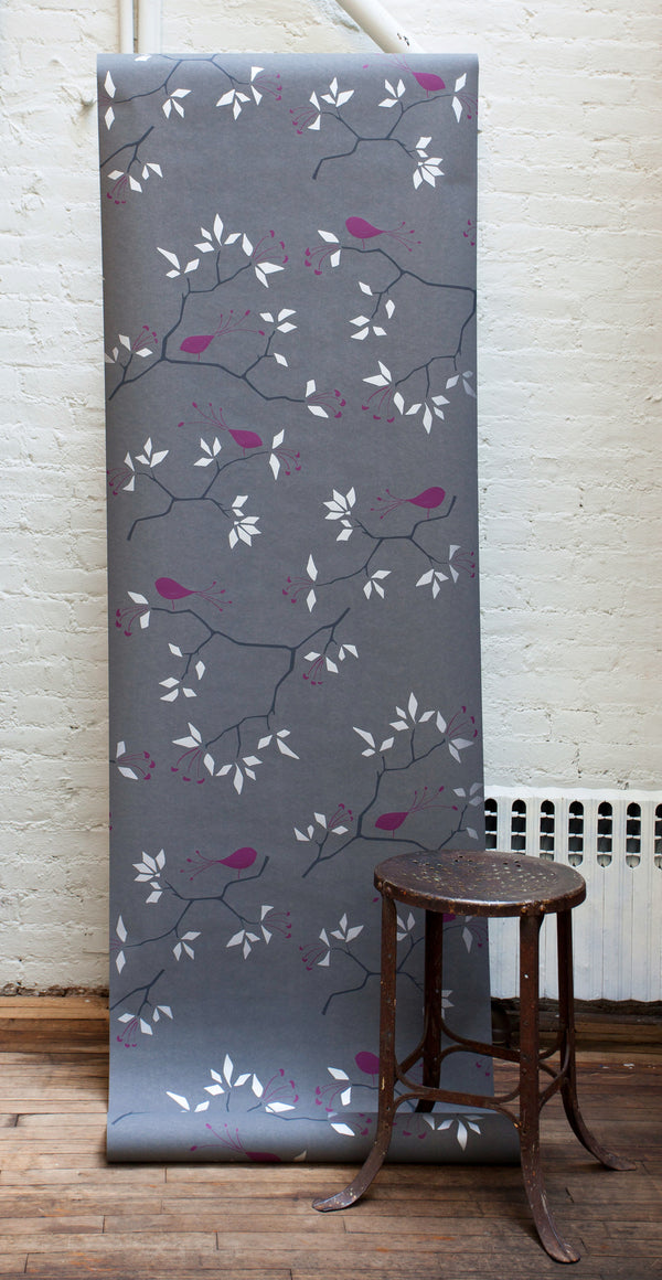 Geo Bird Wallpaper Metallic Silver and Plum on Graphite Gray