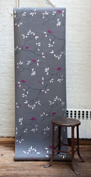 Geo Bird Wallpaper Graphite Plum