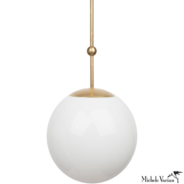 Opal Globe and Ball Pendant Light 14 inch diameter in Brass