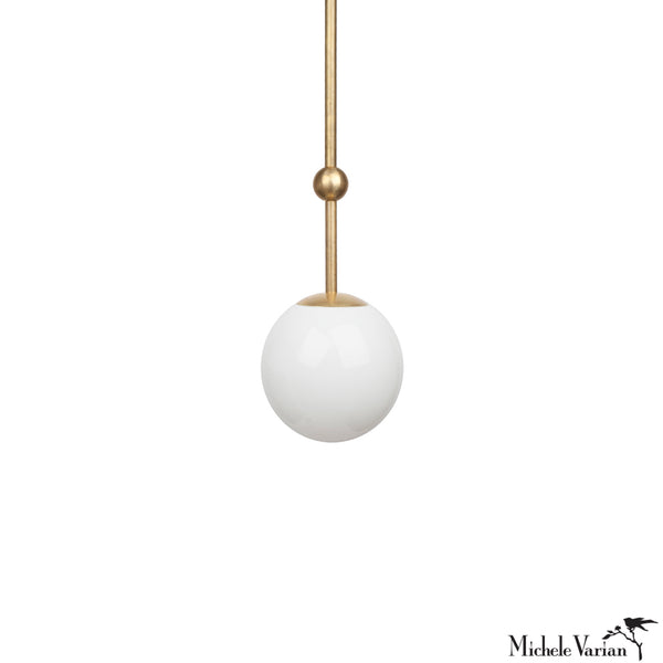 Opal Globe and Ball Pendant Light 6 inch diameter in Brass