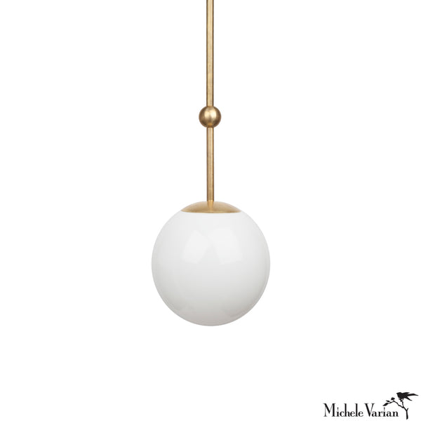 Opal Globe and Ball Pendant Light 8 inch diameter in Brass