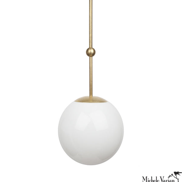 Opal Globe and Ball Pendant Light 10 inch diameter in Brass
